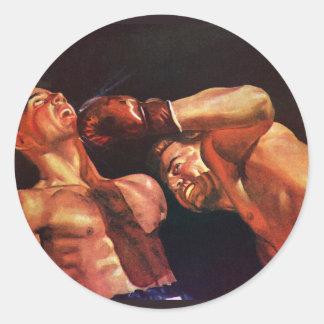 Sports vintages, boxeurs dans un match de boxe sticker rond