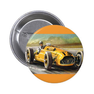 Sports vintages emballant, courses d'automobiles badge rond 5 cm