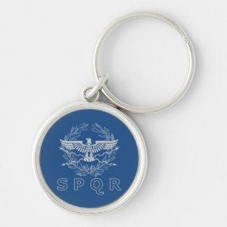SPQR le porte - clé d'emblème d'empire romain Porte-clé Rond Argenté