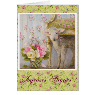 Spring greetings cards - Agneau roses anciennes Carte De Vœux