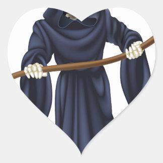 Squelette de la mort de faucheuse autocollants en cœur