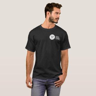Squelette d'épinoche sur le logo arrière d'EEB sur T-shirt