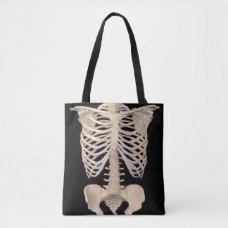 Squelette effrayant de cage de zombi de partie de tote bag