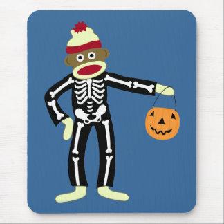 Squelette Halloween de singe de chaussette Tapis De Souris