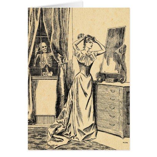 Squelette remarquant sur Madame victorienne Vintag Cartes De Vœux