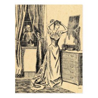 Squelette remarquant sur Madame victorienne Vintag Cartes Postales