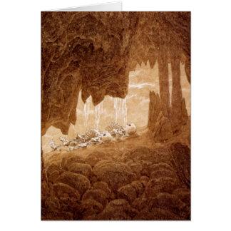 Squelettes dans une carte de retraite de caverne