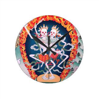 Squelettes dansant l'art bouddhiste tibétain horloge ronde