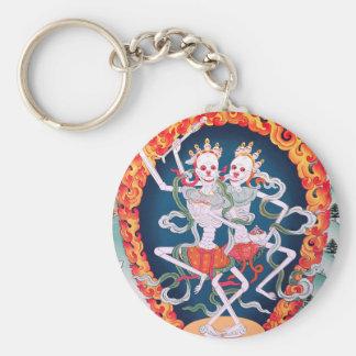 Squelettes dansant l'art bouddhiste tibétain porte-clé rond