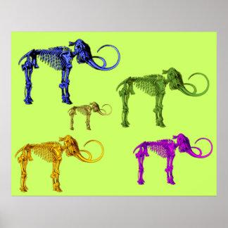 Squelettes gigantesques colorés multi posters