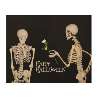 Squelettes Halloween heureux romantique drôle Art Mural Sur Bois