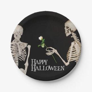 Squelettes Halloween heureux romantique drôle Assiettes En Papier