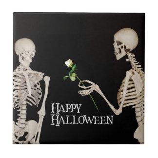 Squelettes Halloween heureux romantique drôle Petit Carreau Carré