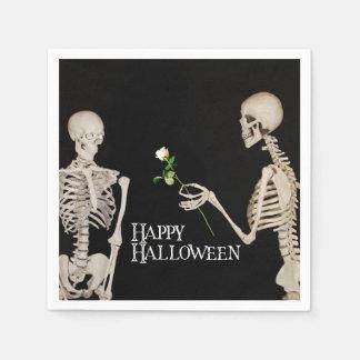 Squelettes Halloween heureux romantique drôle Serviettes Jetables