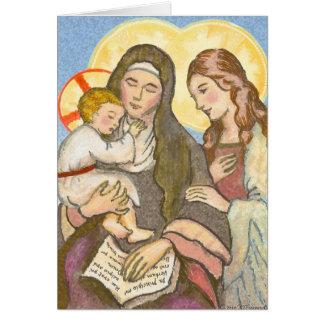 St Ann avec la carte de voeux de Jésus et de Mary