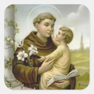 St Anthony de bébé Jésus de Padoue Sticker Carré