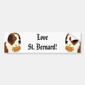 St Bernard avec un petit baril de vin - schéma Autocollant Pour Voiture