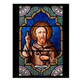 St Bernard d'art en verre souillé de Clairvaux Carte Postale