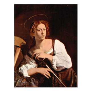 St Catherine de l'Alexandrie par Caravaggio Cartes Postales