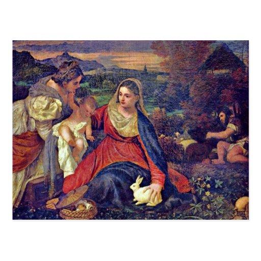 St Catherine et St John d'enfant de Mary et du Chr Cartes Postales