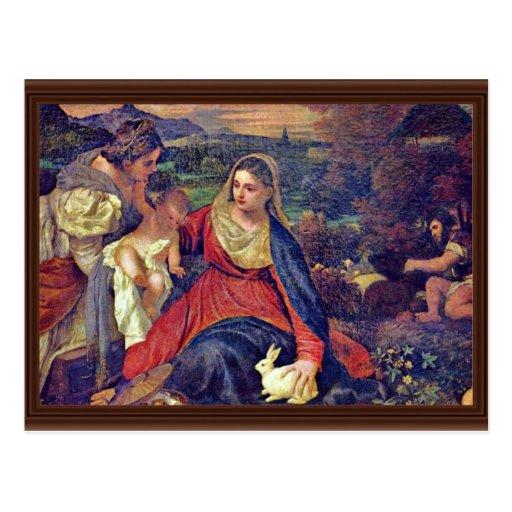 St Catherine et St John d'enfant de Mary et du Chr Carte Postale