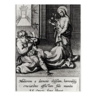 St Catherine exorcisant un démon d'une femme Cartes Postales