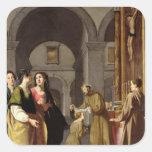 St Clare recevant le voile de St Francis Sticker Carré