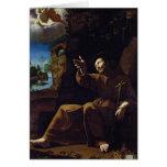St Francis d'Assisi a consolé par un ange Carte De Vœux
