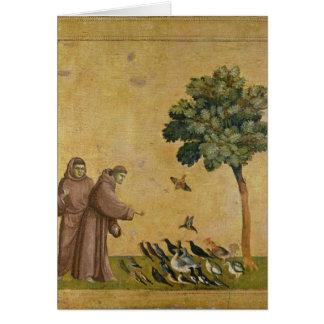 St Francis d'Assisi prêchant aux oiseaux Carte De Vœux