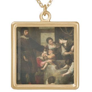 St Isidore sauve un enfant qui était tombé dans un Collier Plaqué Or