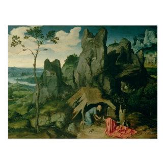 St Jerome dans le désert (huile sur le panneau) Cartes Postales