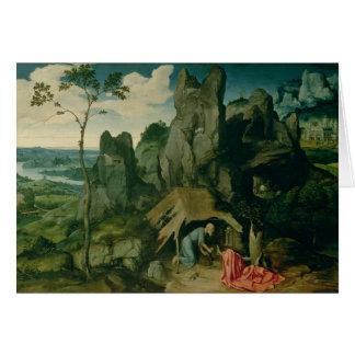 St Jerome dans le désert (huile sur le panneau) (v Carte De Vœux