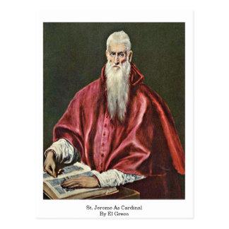 St Jerome en tant que cardinal par El Greco Carte Postale