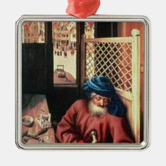 St Joseph a dépeint en tant que charpentier Ornement Carré Argenté