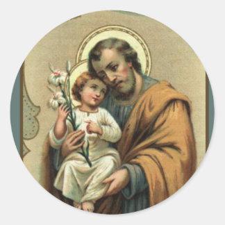 St Joseph, enfant Jésus, cru de lis Sticker Rond