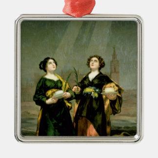 St Justina et St Rufina, 1817 Ornement Carré Argenté