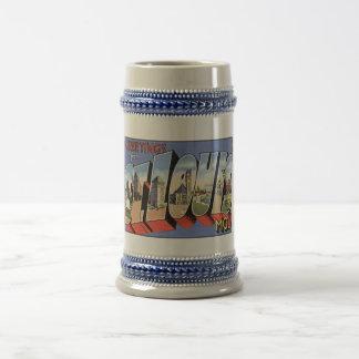 St Louis vintage, tasses de carte postale de MOIS,