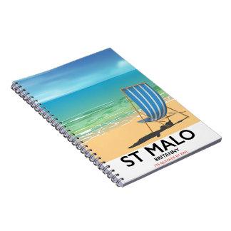 St Malo, affiche de plage de Britanny Carnet