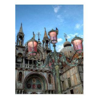 St Marques et lampe, Venise, Italie Carte Postale
