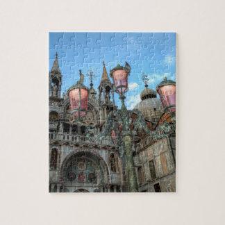 St Marques et lampe, Venise, Italie Puzzle