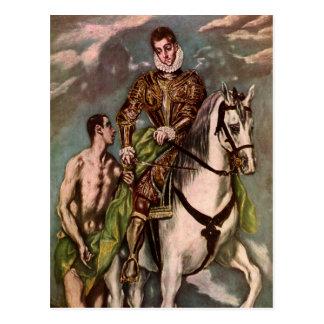 St Martin et le mendiant d'El Greco, circa 1600 Carte Postale