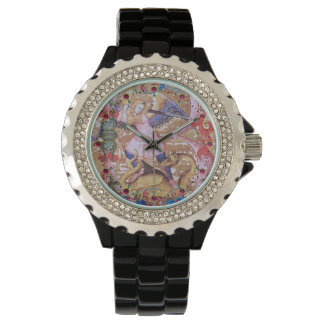 St Michael Arkhangel et floral antique de dragon Montre