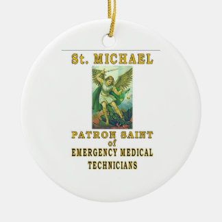 ST MICHAEL EMT ORNEMENT ROND EN CÉRAMIQUE