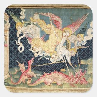 St Michael et ses anges combattant le dragon Sticker Carré