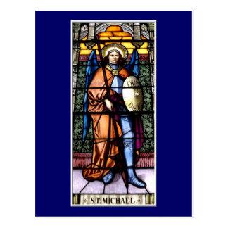 St Michael la fenêtre en verre teinté d'Arkhangel Carte Postale