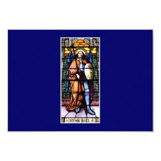 St Michael la fenêtre en verre teinté d'Arkhangel Carton D'invitation 8,89 Cm X 12,70 Cm
