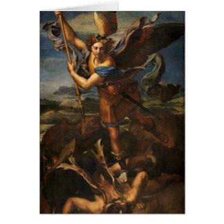 St Michael vainquant Satan Carte De Vœux