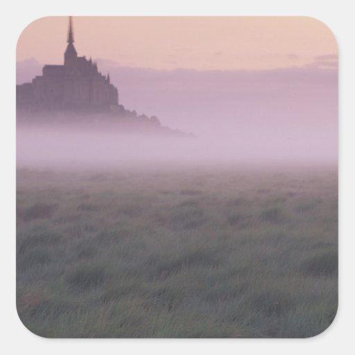 St Michel de la FRANCE, Normandie Mont. Brume de Autocollants Carrés