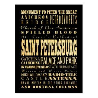 St Petersbourg d'art de typographie de la Russie Cartes Postales