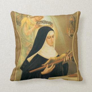 St Rita de Cascia w/Crown d'ange d'épines Coussins Carrés